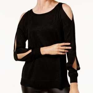 NWT Metallic Cold Shoulder Open Sleeve Sweater